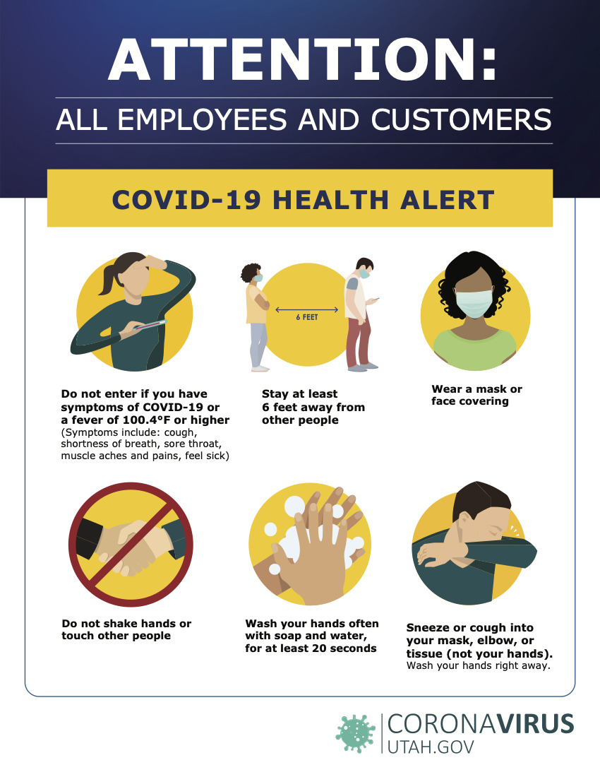 Business signage: COVID-19 Protecting Employees Customers Sign
