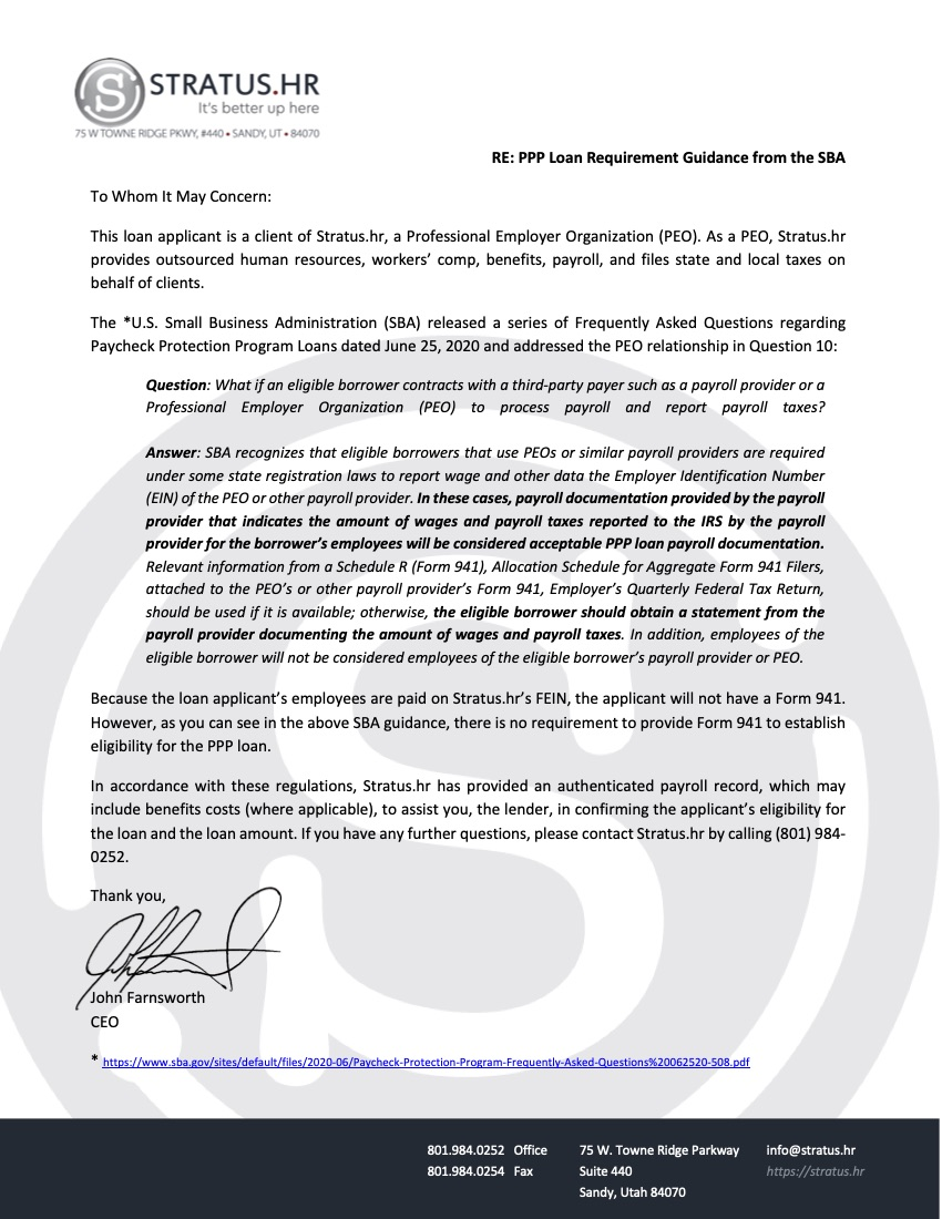 Stratus.hr Letter Explaining PEOs for Second PPP Loan